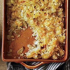 Sweet Onion Casserole | MyRecipes.com - uses a bit of rice for the starch and parmesan & gruyere cheese. Might be a nice change for a thanksgiving side dish.