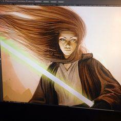 A lot more work on the Nomi Sunrider painting #Jedi #lightsaber #starwars #fanart #art #illustration #painting #portrait #photoshop #digital #drawing #woman #wacom #cintiq #scifi