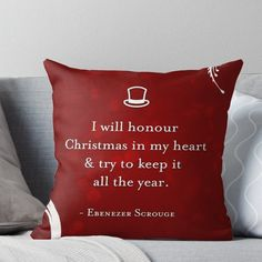 'A Christmas Carol Quote' Throw Pillow by The Eighty-Sixth Floor A Christmas Carol Quotes, Christmas Time Is Here, Christmas Tag, Little Christmas, Christmas 2019, Christmas Crafts, Throw Pillows Bed, Designer Throw Pillows, Decorative Throw Pillows