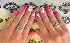 pink white bow shellac nails https://www.facebook.com/edensalonsouthport