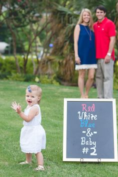 Red, white, blue & baby #2! Fourth of July or July 4th Patriotic Second Baby Pregnancy Announcement!