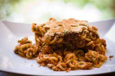 Anelletti al forno con ragù di Seitan, Zucchine e Melanzane