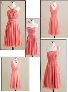 Blush Pink/Coral/ Bridesmaid Dress Column Strapless/ V neckline/Halter Neckline/ chiffon ruched knee length bridesmaid dress