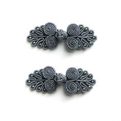 Lot de 2 boutons chinois, brandebourg 60mm gris