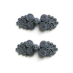 Lot de 2 boutons chinois, brandebourg 60mm gris