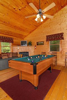 Pigeon Forge Four Bedroom Cabin that features a pool table. Visit this cabin at http://www.firesidechalets.com/851.html or call a reservation specialist at toll free 1-877-774-4121