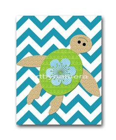 Playroom Art Sea Turtle Nursery Blue gray Baby by artbynataera