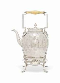 A VICTORIAN SILVER TEA KETTLE, STAND AND LAMP MARK OF MARTIN, HALL & CO., SHEFFIELD, 1868