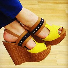 Yellow and Tan Wedges -- Sunny and Fab!