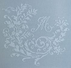 French cross stitch monogram ~ white silk on French blue linen ~ shabby chic cross-stitch ~ pretty cross stitch ~ elegant cross stitch