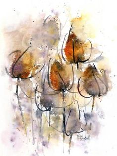 size: Stretched Canvas Print: Teasels by Rachel McNaughton : Using advanced technology, we print the image directly onto canvas, stretch it onto support bars, and finish it with hand-painted edges and a protective coating. Abstract Flowers, Abstract Watercolor, Watercolor And Ink, Watercolor Flowers, Watercolor Paintings, Watercolors, Arte Floral, Painting Edges, Stretched Canvas Prints