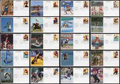 3068a-t / 32c Atlanta '96 Summer Olympics Set of 20 Mystic 1996 FDCs / Set Includes: Decathlon, Men's Canoeing, Women's Running, Women's Diving, Men's Cycling, Freestyle Wrestling, Women's Gymnastics, Women's Sailboarding, Men's Shot Put, Women's Soccer, Beach Volleyball, Men's Rowing, Men's Sprinting Events, Women's Swimming, Women's Softball, Men's Hurdles, Men's Swimming, Men's Gymnastics, Equestrian and 3Men's Basketball.