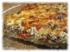 Tämä kestosuosikki on syntynyt ihan vaan yhdistelemällä omaan makuun sopivia osasia. Hyvä pizzan korvike. Lisukkeeksi on tapana tehdä salaattia, jossa on kurkkua, tomaattia, paprikaa, jääsalaattia, valkosipulikrutonkeja ja ranskalaista salaattikastiketta. Pohja: 125 g voita tai margariinia 3 dl vehnäjauhoja ½ dl vettä Täyte: 1 paprika 1 pieni sipuli 300 g jauhelihaa 1 valkosipulinkynsi 2 tl sinappia […] No Salt Recipes, Cooking Recipes, Savory Pastry, Sweet Pastries, Pastry Cake, Street Food, Finger Foods, Food Hacks, Food Porn