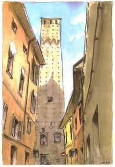 Acquarello. Bologna, torre da Via Sant'Alò.