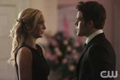 "The Vampire Diaries -- ""Let Her Go"" -- Image Number: VD615b_0078.jpg -- Pictured (L-R): Candice Accola as Caroline and Paul Wesley a Stefan -- Photo: Annette Brown/The CW -- © 2015 The CW Network, LLC. All rights reserved.pn"