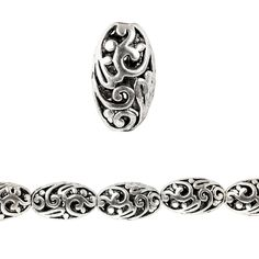 """Bead Gallery® Silver Plated Carved Filigree Oval - Item # 10265345 - $5.99    These stylish silver-plated oval beads feature a lovely filigree pattern. Combine with other beads or a pendant to complete your one-of-a-kind design.     Details: Silver-plated; 10mm x 17mm bead; 2.1 mm hole; 5.5"""" string, 8 beads"""