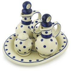 Polish Pottery 9-inch Seasoning Set | Boleslawiec Stoneware | Polmedia H9959G | Polmedia