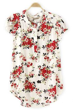 Red Short Sleeve Floral Print Button Blouse