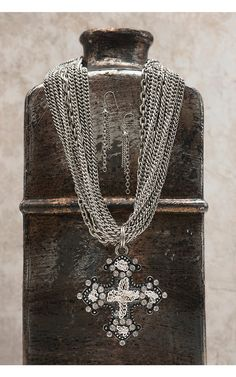 Silver Embellished Rhinestone Antique Cross with Multi-Chain Necklace Jewelry Set