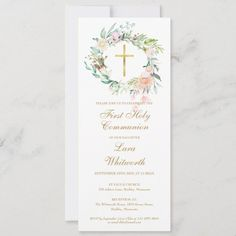 First Communion Party, First Holy Communion, Custom Invitations, Invitation Cards, Holy Communion Invitations, Baptism Dress, Floral Garland, Gold Cross, White Envelopes