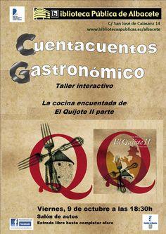#actividadesbiblioteca  Cuentacuentos gastronómico: La cocina encuentada del Quijote. Viernes, 9 de octubre a las 18:30.