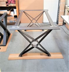 "Modern, Chic Dining Table ""X"" Legs, Model #TF03B, with  2 Cross Braces"