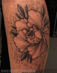Peony with some Dotwork background. Mandala Tatuering Tattoo Gray Geometry Peony with some Dotwork background. Diy Tattoo, Tattoo Blog, Tattoo Fonts, Tattoo Ideas, Flower Tattoo Designs, Flower Tattoos, Leg Tattoos, Body Art Tattoos, Tattos