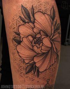 Peony with some Dotwork background. Mandala Tatuering Tattoo Gray Geometry