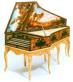 Hemsch double-manual harpsichord in original decoration (Sheridan Germann)