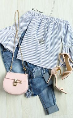 Blue Striped Off The Shoulder Ruffle Sleeve Blouse