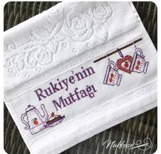 Havlu Ribbon Embroidery, Cross Stitch Embroidery, Cross Stitch Patterns, Elsa, Diy And Crafts, Canvas, Dish Towels, Cross Stitch Kitchen, Towels
