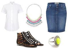 Denim Pencil Skirt. Lime Ring. White Top. Gladiator Sandals.