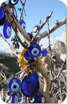 "Keep one in your house to ward off the ""evil"" Hamsa, Eye Images, Greek Culture, Evil Eye Jewelry, Evil Eye Charm, Greek Art, Secret Places, Land Art, Wind Chimes"