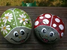 Painted rocks - friendly ladybugs for the garden. One of my fav things to do. Fond memories of doing this with my grands when they were little.