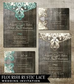 Rustic Lace Wedding Invitation and RSVP Digital by OddLotEmporium