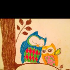 Hand drawn owl picture on a canvas.