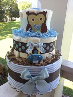 OWL 3 Tier diaper cake Forest theme Blue brown by diapercake4less