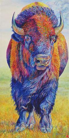 Wind and Thunder by Sharon Markwardt, Oil, 48 x 24 Buffalo Animal, Buffalo Art, Buffalo Painting, Baby Animals Super Cute, Acrylic Painting Techniques, Animal Totems, Indigenous Art, Artist Gallery, Western Art