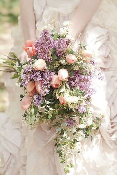 Blush pink tulip and lavender wedding bouquet. Tulip Bridal Bouquet, Cascading Wedding Bouquets, Cascade Bouquet, Bride Bouquets, Bridal Flowers, Floral Bouquets, Spring Bouquet, Pastel Bouquet, Lavender Bouquet