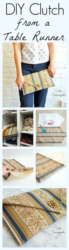 Creating a one of a kind DIY clutch handbag from a thrift store table runner is easier than you ever could have imagined with this repurposing tutorial! It's the ultimate thrift store makeover, and even a beginner sewist could do it. No one would ever guess where that expensive clutch came from- ha!! Upcycled couture from #SadieSeasongoods / www.sadieseasongoods.com