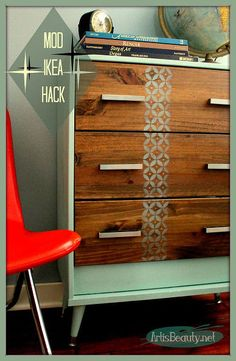 Mid Century Mod IKEA Rast Hack Dresser - When a local hometown company asked if I would hack an IKEA dresser to show the difference Hardware can make on a piece… Upcycled Furniture, Furniture Projects, Furniture Makeover, Painted Furniture, Diy Furniture, Furniture Stores, Diy Projects, Ikea Dresser, Wood Dresser