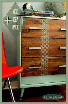 Mid century mod Ikea Rast hack dresser