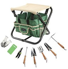 #Finnhomy #Garden #Stool #Set PERFECT GIFTS FOR YOUR PARENTS, FRIENDS OR HONEY: All-in-one design is perfect for home gardening. Including 1 heavy duty steel foldable #stool, 1 tote bag, 1 pair of nitrile coated working gloves (latex free), 1 pruning shears, 1 kneeling pad and 1 #set of 5 pk tool #set with beech wood handles for home gardening. STURDY&HEAVY FOLDABLE STOOL: Heavy duty metal frame and durable canvas seat pad. A safety strap at the bottom frame to ensure the sit