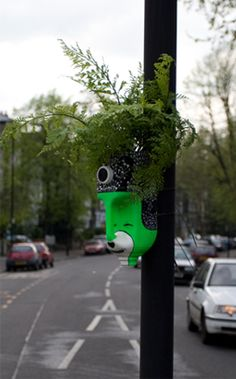 A guerilla gardening project, turning milk bottles into characters and planting them around the city.
