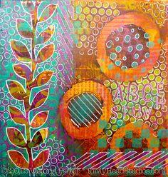 """Summer Evening"" Gelli Monoprint with gelli pens"