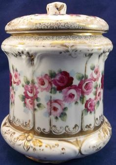Antique Biscuit Jar Tobacco Humidor Hand Painted Pink Roses Porcelain China | eBay