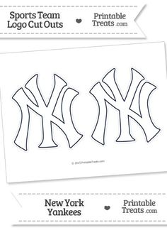 Medium White New York Yankees Logo Cut Outs from PrintableTreats.com