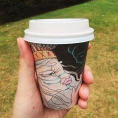 Coffee in a cardboard cup Cup Art, Travel Mug, Mugs, Coffee, Tableware, Instagram Posts, Coffee Cafe, Dinnerware, Cups