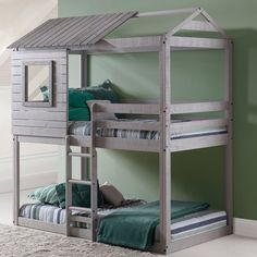 Bedtime and playtime are one and the same with this kids Twin Bunk Loft Bed. This twin size bunk loft bed made of sturdy Brazilian pine wood. Finished with a beautiful light gray non-toxic finish, Donco kids bed adds a beautiful element to any child's bedroom.
