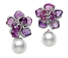 """From Mikimoto Exclusives Collection """"Violette"""" Earrings. Platinum, Diamonds, South Sea White Cultured Pearls, and 15 Rough Purple Sapphires. I Love Jewelry, High Jewelry, Pearl Jewelry, Diamond Jewelry, Vintage Jewelry, Jewelry Accessories, Jewelry Design, Pearl Earrings, Handmade Jewelry"""